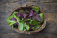 Wickerbasket of different organic lettuce leaves - LVF004357
