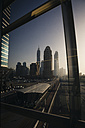 UAE, Dubai, view through window at skyline - MAUF000220
