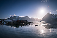 Norway, Lofoten, fishing boat in fjord - STCF000138