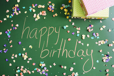 Happy birthday message with presents and confetti - GEMF000597