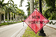 USA, Florida, Fort Myers, men working sign - CHPF000175