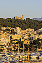 Spain, Balearic Islands, Mallorca, Palma de Mallorca, Bellver Castle and harbour - THAF001538