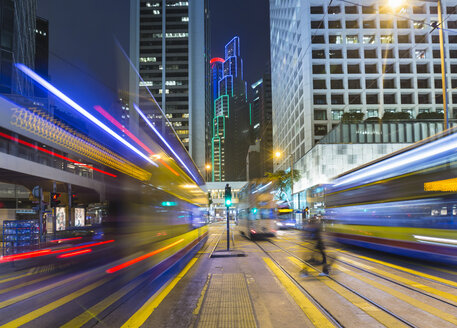 China, Central Hong Kong, Light trails of tramway - HSIF000385