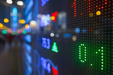 China, Hong Kong, Stock ticker, close up - HSIF000400