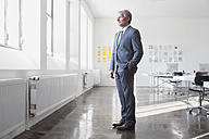 Businessman in office looking out of window - RBF003988