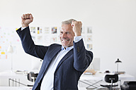 Businessman cheering in office - RBF003997