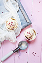 Two cups of vanilla icecream with dried raspberries - SBDF002625