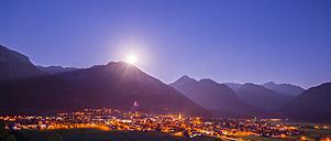 Germany, Bavaria, Allgaeu Alps, Oberstdorf at night, full moon - WGF000827