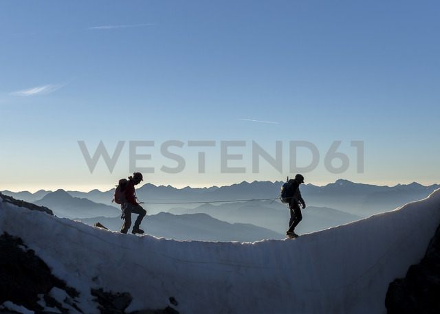 France, Ecrins Alps, two mountaineers at Dauphine - ALRF000324