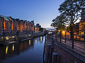 Germany, Hamburg, Old Warehouse District at night - KRPF001701