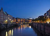 Germany, Hamburg, Old Warehouse District at night - KRPF001704