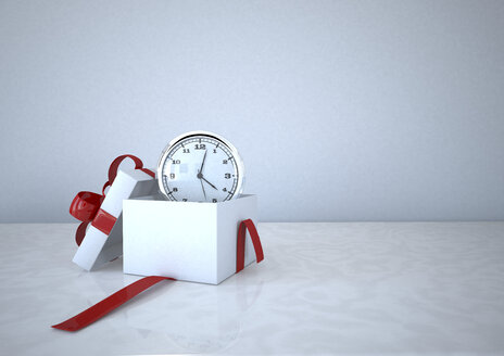 3d illustration, Opened gift carton with a clock - ALF000668