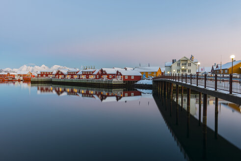 Norway, Lofoten Islands, Svolvaer, The harbor of the town at sunset - LOMF000176