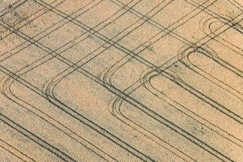 Aerial view, Grainfield with tractor tracks - KLEF000027