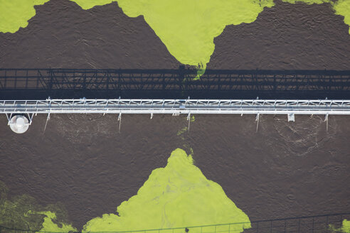 Aerial view of bridge over clarifying basin of an water treatment plant - KLEF000045