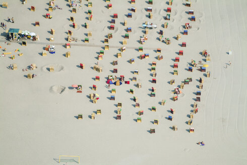 Germany, Luebeck Priwall, Aerial view, beach with hooded beach chairs - KLE000048