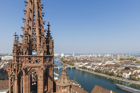 Switzerland, Basel, Basel Minster Tower, city and Rhine River view from Basel Minster - GWF004575