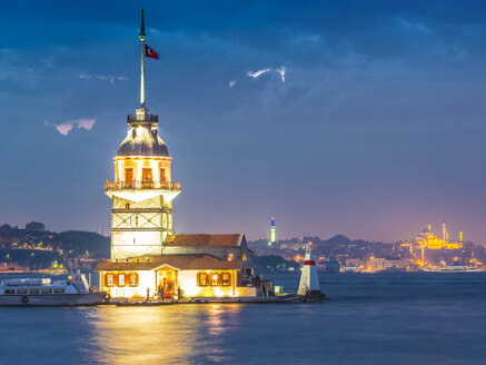 Turkey, Istanbul, view to lighted Maiden's Tower - MDIF000031