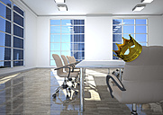 Empty conference room with king's crown on office chair - ALF000670