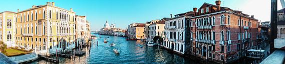 Italy, Veneto, Venice, Panorama, Canal, Palazzo Sant' Angelo left and Santa Maria della Salute in the background - HAMF000130