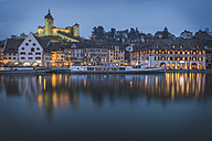 Switzerland, Schaffhausen, evening at River Rhine with Christmas illumination and Munot - KEB000331