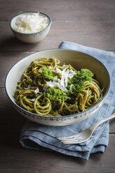 Bowl of whole-grain spelt pasta with kale and hazelnut pesto and parmesan - EVGF002781