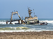 Namibia, Dorob National Park, Henties Bay, ship wreck of stranded Zeila - AMF004710