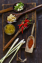 Ingredients of Asian curry paste on wooden board - SBDF002674