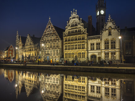 Belgium, Ghent, promenade at Graslei with historical houses at night - AMF004722