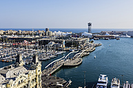 Spain, Barcelona, marina as seen from Columbus column - THAF001565
