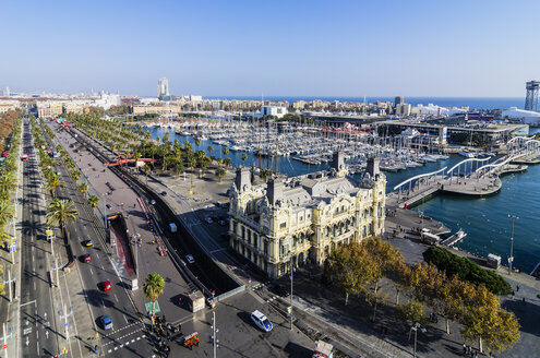 Spain, Barcelona, cityscape as seen from Columbus column with marina - THAF001568