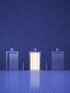 Lifts, blue lighting mood, open door, different directions - UWF000762