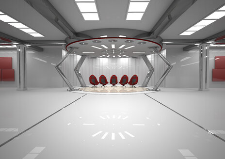 Futuristic room with five red swivel chairs, 3D Rendering - ALF000676