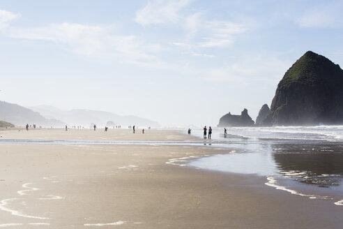 USA, Oregon, Cannon Beach, Haystack Rock, beach - NGF000265