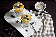 Two glasses of chia pudding with mango banana mush, blueberries and coconut flakes - YFF000527
