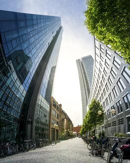 Germany, Frankfurt, alley between modern office buildings - PUF000470