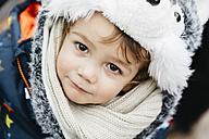 Portrait of little boy wearing warm clothing - JRFF000391