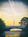 Germany, Hamburg, Heinrich-Hertz Tower at sunset, Outer Alster Lake - KRPF001714