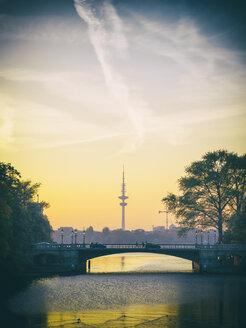 Germany, Hamburg, Heinrich-Hertz Tower at sunset, Outer Alster Lake - KRPF001714