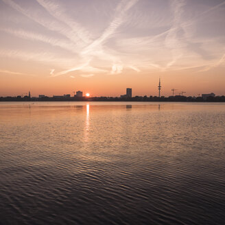 Germany, Hamburg, Outer Alster Lake at sunset - KRPF001717