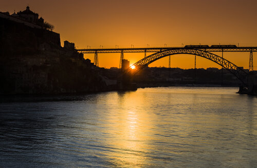 Portugal, Porto, Luiz I Bridge and Douro river at sunset - AMF004752
