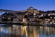 Portugal, Porto, Luiz I Bridge and Douro river, Mosteiro da Serra do Pilar in the evening - AMF004755