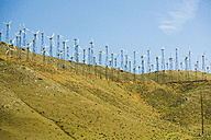 USA, Nevada, wind turbines on hill - NGF000286