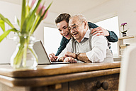 Senior man and his grandson looking together at laptop  in the living room - UUF006567