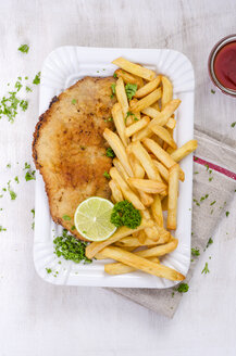 Schnitzel with french fries and ketchup on paper plate - ODF001372