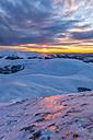 Italy, Umbria, Monti Sibillini National Park, Sunset on Apennines in Winter - LOMF000217