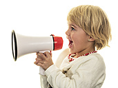 Blond girl shouting in megaphone - EJWF000773
