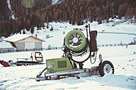 Italy, Val Venosta, Slingia, snow cannon in winter landscape - MFF002712