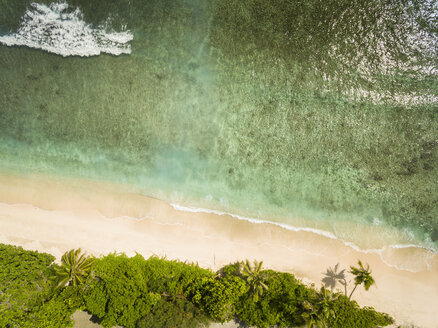 Seychelles, La Digue, East coast,Anse Fourmis, Beach, Aerial view - FOF008407