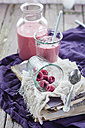 Glass and bottle of vegan raspberry smoothie - SBDF002693